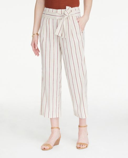 Ann Taylor Striped Tie Waist Drapey Pants