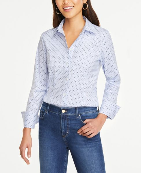 Ann Taylor Dot Striped Button Down Shirt
