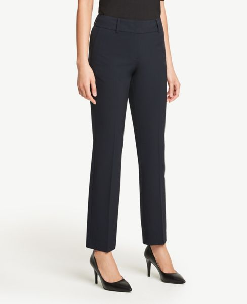 Ann Taylor Petite Curvy Straight Leg Pants in Navy