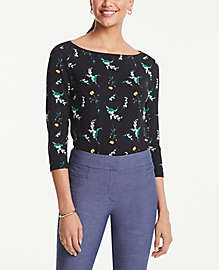 Ann Taylor Factory Floral Boatneck Tee