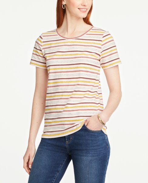 Ann Taylor Striped Crew Neck Tee