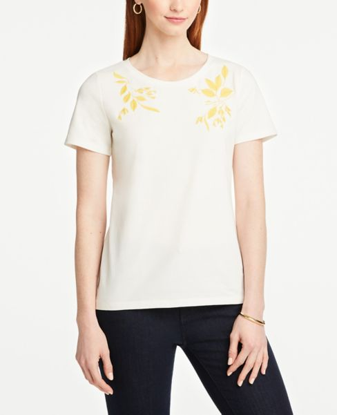 Ann Taylor Embroidered Crew Neck Tee