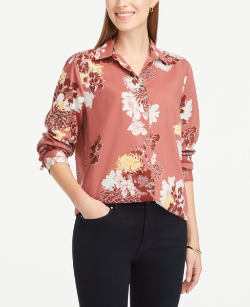 Ann Taylor Floral Lightweight Button Down Shirt