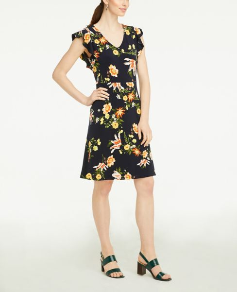 Ann Taylor Petite Floral Ruffle Sleeve Flare Dress