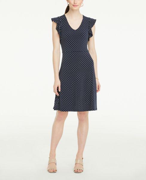 Ann Taylor Petite Polka Dot Ruffle Sleeve Flare Dress