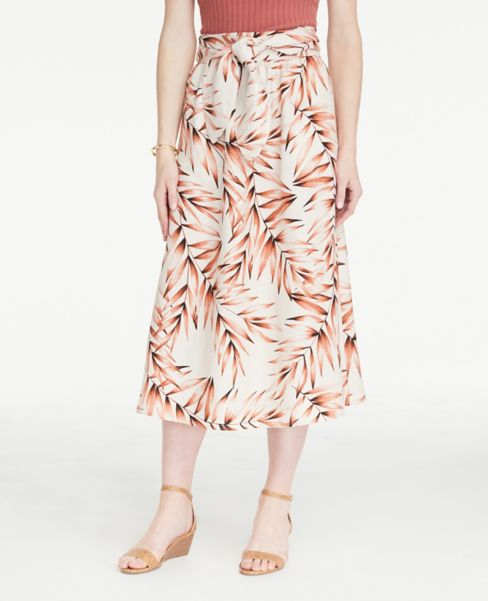 Ann Taylor Petite Leafed Linen Blend Tie Waist Midi Skirt