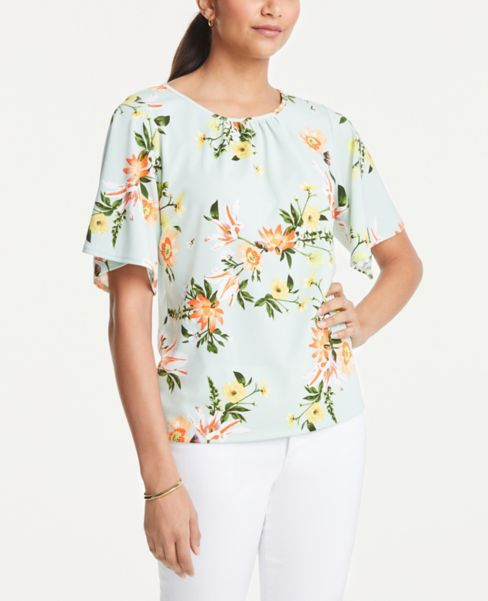 Ann Taylor Floral Angel Sleeve Top