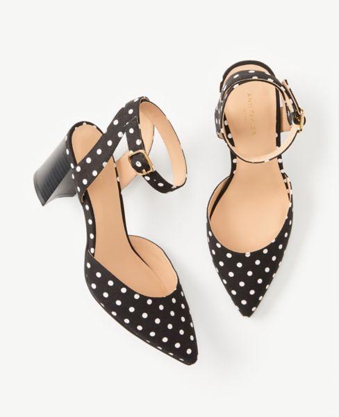 Ann Taylor Polka Dot Ankle Strap Block Heel Pumps