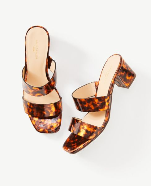 Ann Taylor Tortoiseshell Print Block Heel Sandals