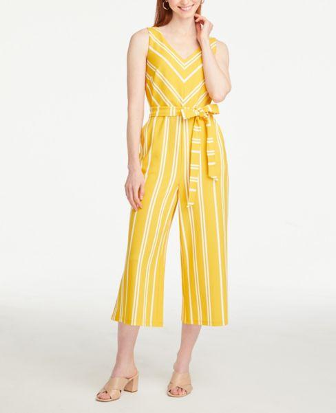 Ann Taylor Petite Striped V-Neck Jumpsuit