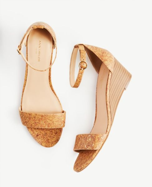 Ann Taylor Cork Ankle Strap Wedge Heels