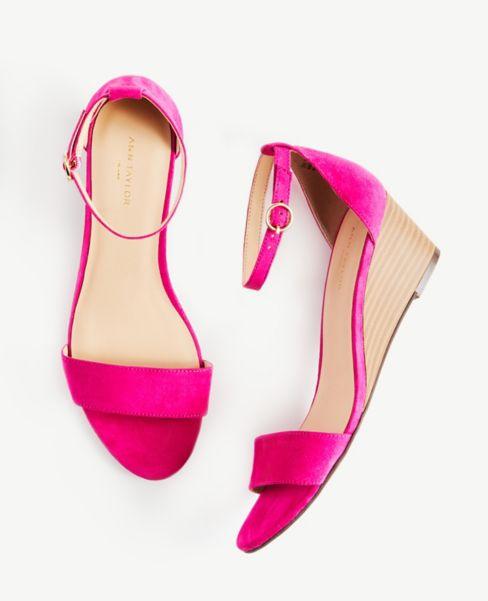 Ann Taylor Ankle Strap Wedge Heels