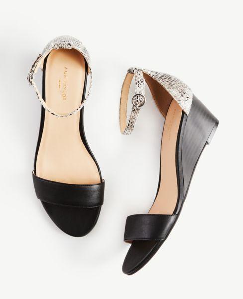 Ann Taylor Snake Print Ankle Strap Wedge Heels