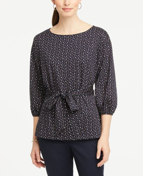 Ann Taylor Dotted Tie Waist Tunic Top