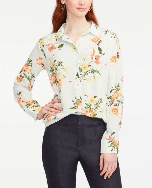 Ann Taylor Floral Button Down Shirt