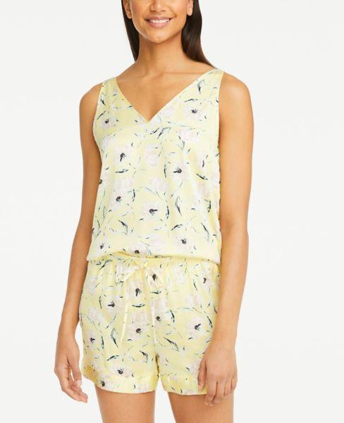Ann Taylor Floral Silky Pajama Tank Top