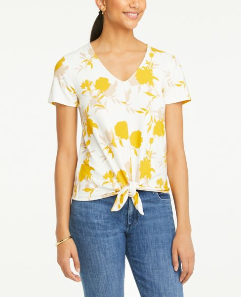 Ann Taylor Floral Tie Front V-Neck Tee