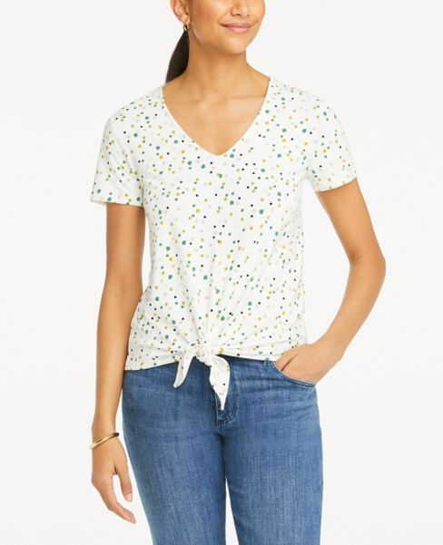 Ann Taylor Constellation Tie Front V-Neck Tee