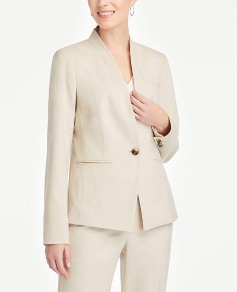 Ann Taylor Petite Cutaway Jacket in Neutral