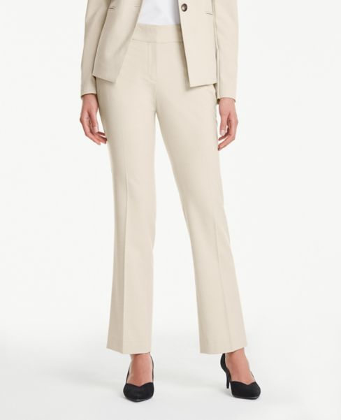 Ann Taylor Petite Straight Leg Pants in Neutral