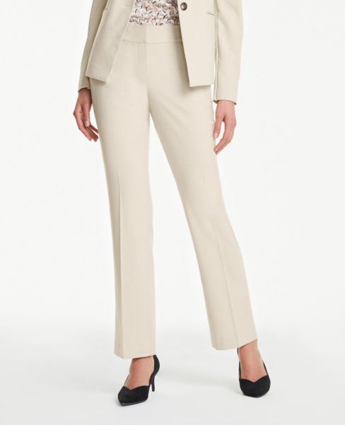 Ann Taylor Petite Curvy Straight Leg Pants in Neutral