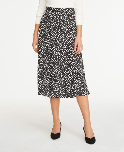 Ann Taylor Petite Spotted Midi Skirt