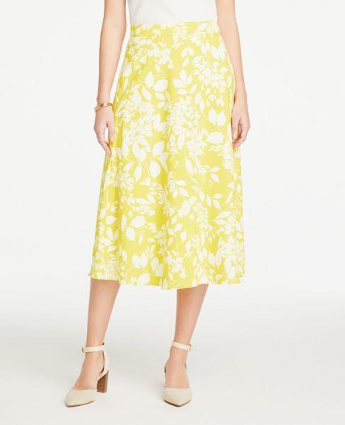 Ann Taylor Petite Leafy Midi Skirt