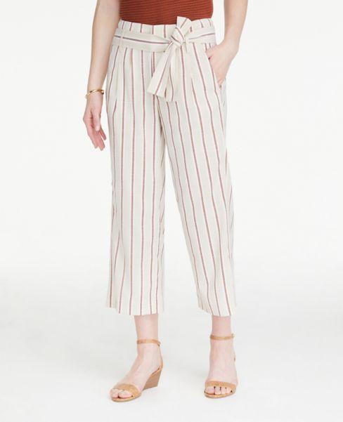 Ann Taylor Petite Striped Tie Waist Drapey Pants