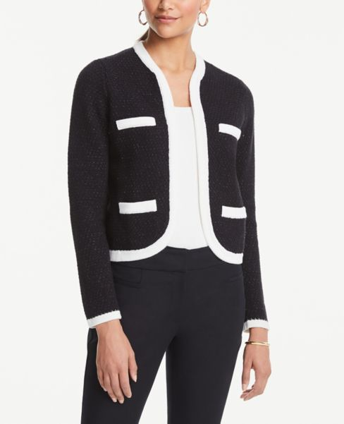 Ann Taylor Tipped Sweater Jacket