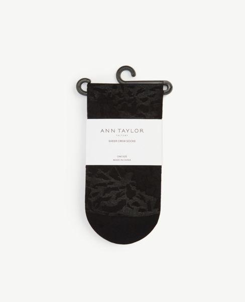 Ann Taylor Floral Sheer Crew Socks