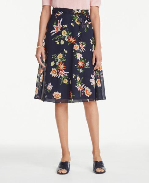 Ann Taylor Petite Floral Tie Waist Skirt