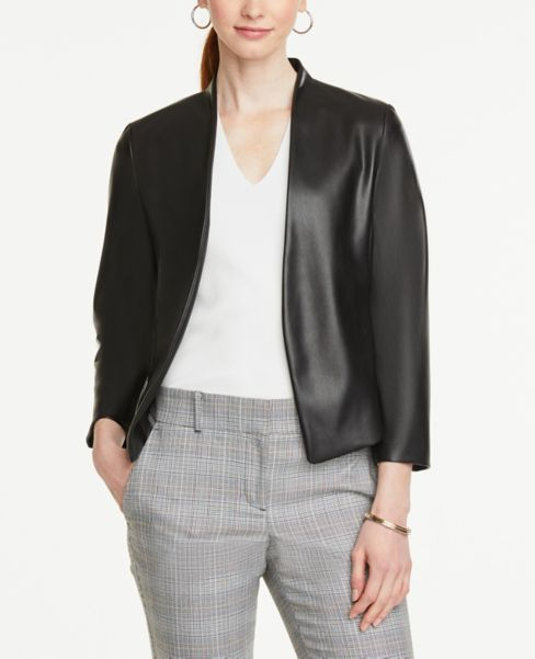 Ann Taylor Faux Leather Blazer