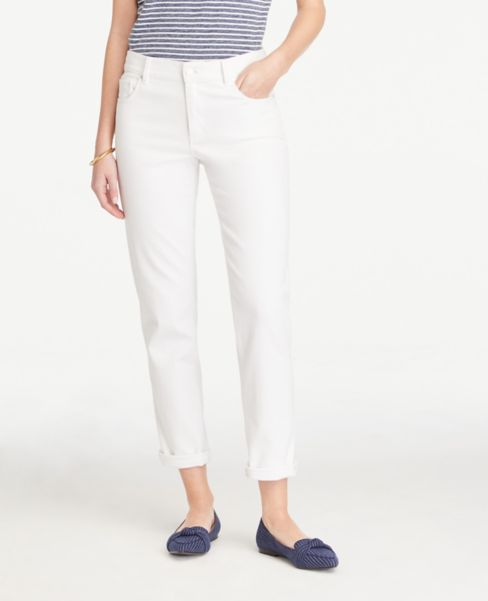 Ann Taylor Petite Girlfriend Jeans in White