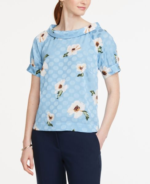 Ann Taylor Floral Collared Top