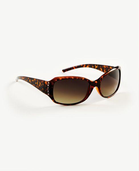 Ann Taylor Sparkle Tortoiseshell Print Wrap Sunglasses