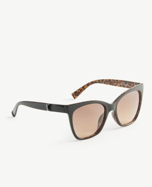 Ann Taylor Cheetah Print Trim Square Sunglasses