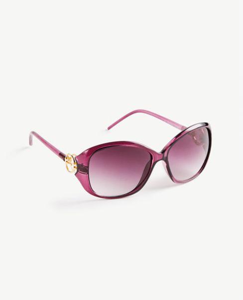 Ann Taylor Metallic Trim Wrap Sunglasses
