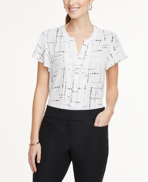Ann Taylor Dotted Pleated Flutter Top