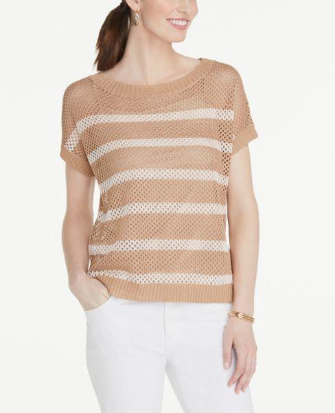 Ann Taylor Striped Open Stitch Sweater