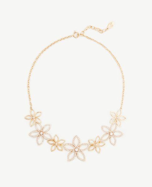Ann Taylor Floral Sparkle Statement Necklace
