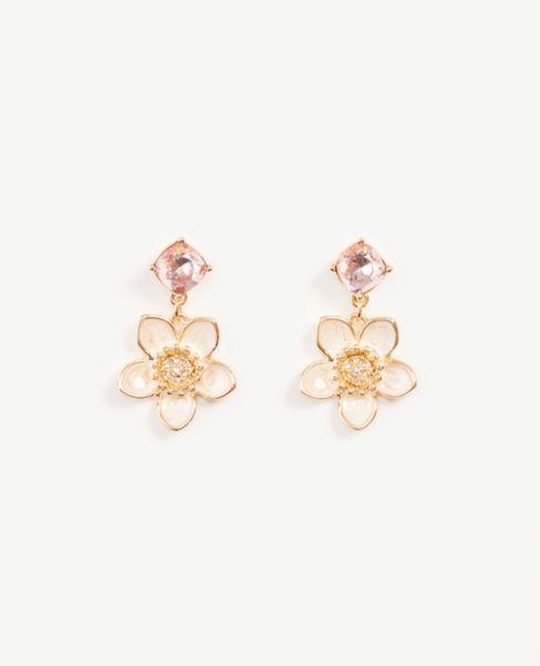 Ann Taylor Enamel Floral Drop Earrings