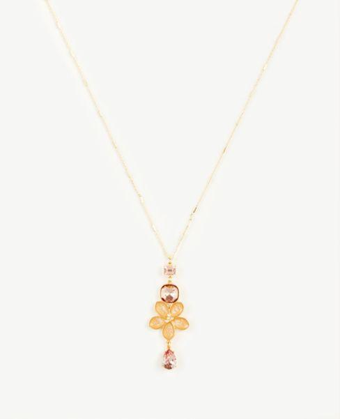 Ann Taylor Enamel Floral Pendant Necklace