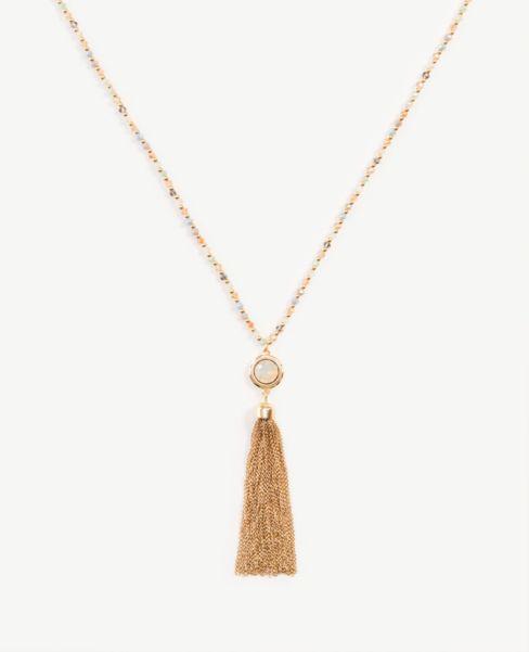 Ann Taylor Beaded Fringe Pendant Necklace