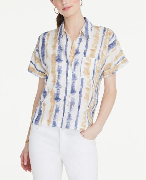 Ann Taylor Striped Soft Pocket Shirt