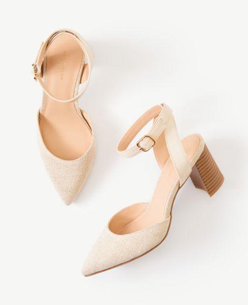 Ann Taylor Textured Ankle Strap Block Heels