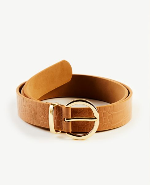 Ann Taylor Embossed Round Buckle Belt