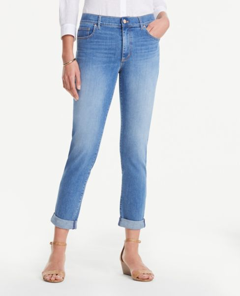 Ann Taylor Petite Girlfriend Jeans in Light Indigo Wash