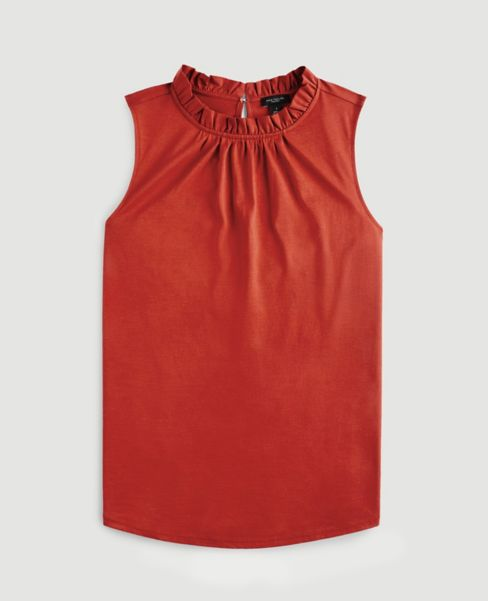 Ann Taylor Shirred Mock Neck Shell