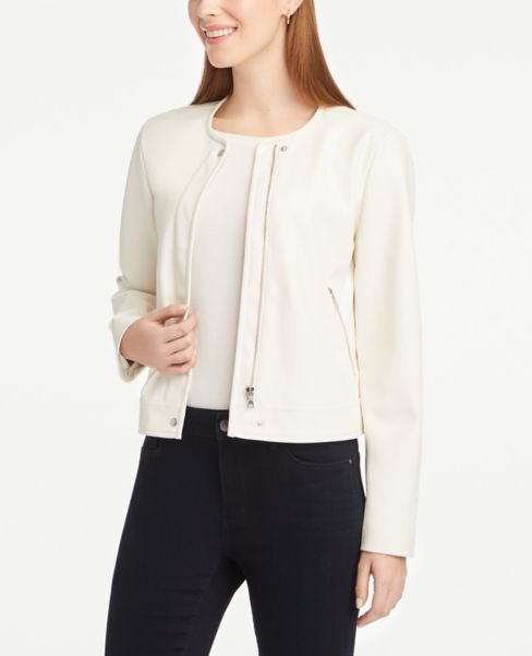 Ann Taylor Faux Leather Zip Jacket