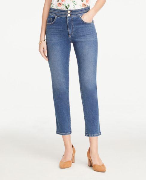 Ann Taylor Stitched Waist Straight Leg Jeans